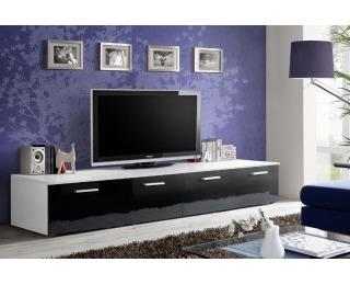 TV stolík Duo WS - biela / čierny vysoký lesk