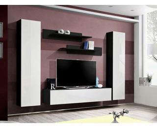 Obývacia stena Fly A1 ZW - čierna / biely vysoký lesk