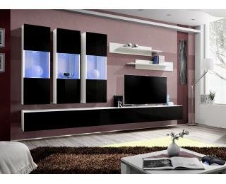 Obývacia stena s osvetlením Fly E2 WS - biela / čierny vysoký lesk