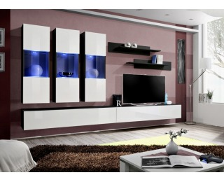 Obývacia stena s osvetlením Fly E2 ZW - čierna / biely vysoký lesk