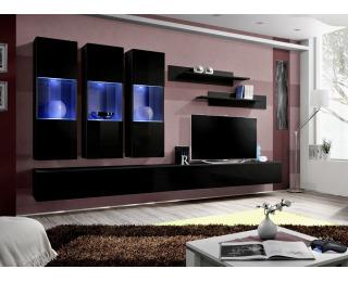 Obývacia stena s osvetlením Fly E2 ZZ - čierna / čierny vysoký lesk