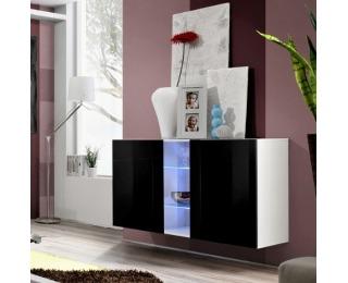 Vitrína na stenu s osvetlením Fly I WS - biela / čierny vysoký lesk