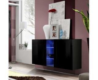 Vitrína na stenu s osvetlením Fly I ZZ - čierna / čierny vysoký lesk