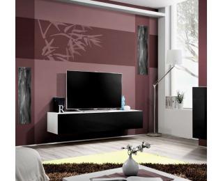 TV stolík Fly WS - biela / čierny vysoký lesk