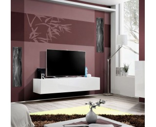 TV stolík Fly WW - biela / biely vysoký lesk