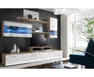 Obývacia stena s osvetlením Logo II DSWW - dub sonoma / biely vysoký lesk