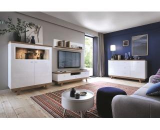 Obývacia izba Aspen - biely vysoký lesk / dub (Grande 01)
