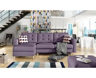 Rohová sedačka s rozkladom a úložným priestorom Aveza L/P - fialová / vzor