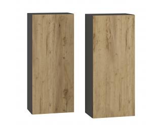 Kúpeľňová skrinka na stenu (2 ks) Baleta 2S - antracit / craft zlatý