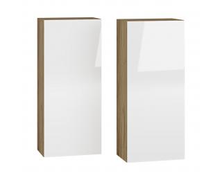 Kúpeľňová skrinka na stenu (2 ks) Baleta 2S - craft zlatý / biely lesk