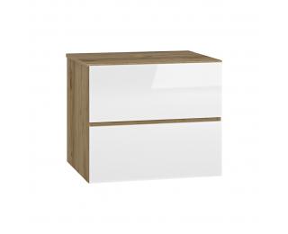 Kúpeľňová skrinka pod umývadlo Baleta S60 - craft zlatý / biely lesk