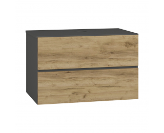 Kúpeľňová skrinka pod umývadlo Baleta S80 - antracit / craft zlatý