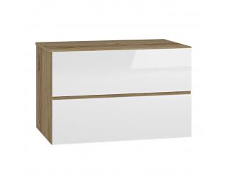Kúpeľňová skrinka pod umývadlo Baleta S80 - craft zlatý / biely lesk
