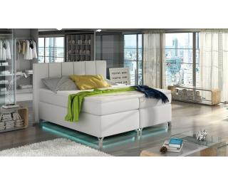 Čalúnená manželská posteľ s úložným priestorom Barino 180 - biela