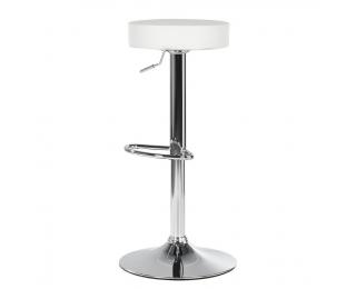 Barová stolička Adalin - biela / chróm