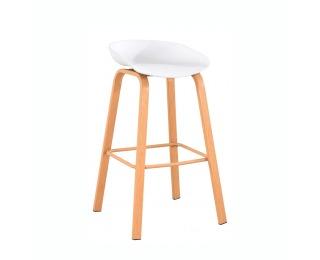 Barová stolička Braga - biela / prírodná