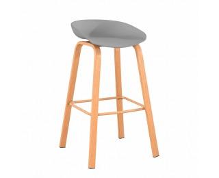 Barová stolička Braga - sivá / prírodná