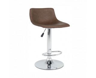 Barová stolička Ebro - tmavohnedá / chróm