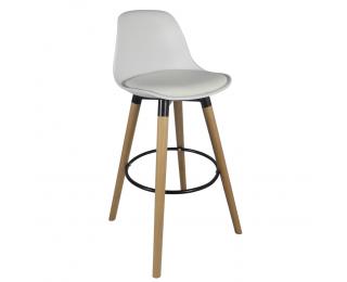 Barová stolička Evans - biela / buk