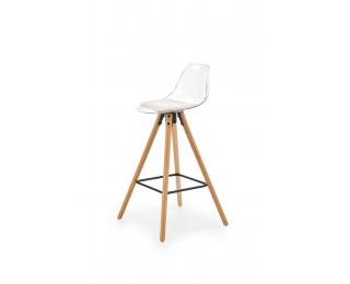 Barová stolička H-91 - priehľadná / biela / prírodná