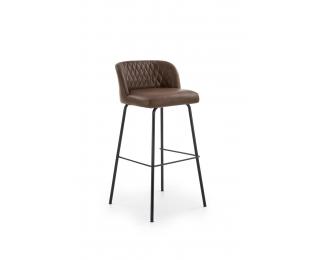 Barová stolička H-92 - tmavohnedá / čierna