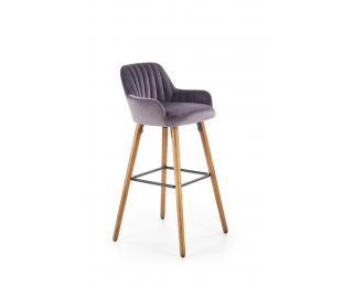 Barová stolička H-93 - tmavosivá / orech
