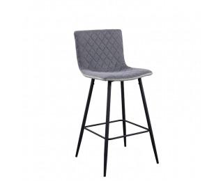 Barová stolička Torana - svetlosivá / sivá / chróm
