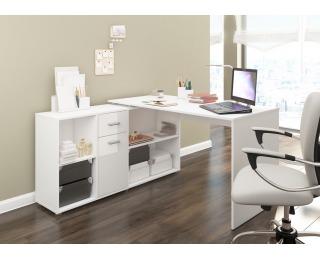 Rohový písací stôl Beat L - biela / biely lesk
