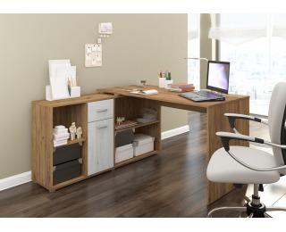 Rohový písací stôl Beat L - craft zlatý / craft biely