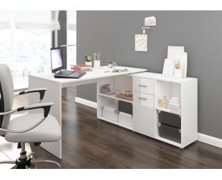 Rohový písací stôl Beat P - biela / biely lesk