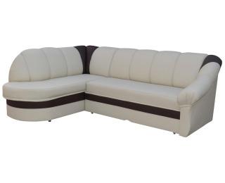 Rohová sedačka s rozkladom a úložným priestorom Belluno L - béžová / tmavohnedá