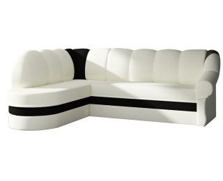 Rohová sedačka s rozkladom a úložným priestorom Belluno L - biela / čierna