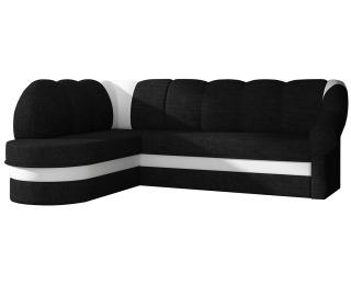 Rohová sedačka s rozkladom a úložným priestorom Belluno L - čierna (Sawana 14) / biela (Soft 17)