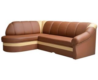 Rohová sedačka s rozkladom a úložným priestorom Belluno L - hnedá / krémová