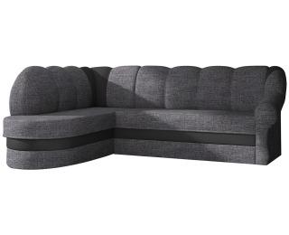 Rohová sedačka s rozkladom a úložným priestorom Belluno L - sivá (Berlin 01) / čierna (Soft 11)
