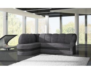 Rohová sedačka s rozkladom a úložným priestorom Belluno L - sivá (Sawana 05) / čierna (Soft 11)