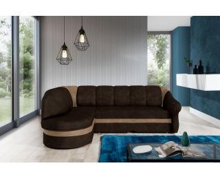 Rohová sedačka s rozkladom a úložným priestorom Belluno L - tmavohnedá / hnedá