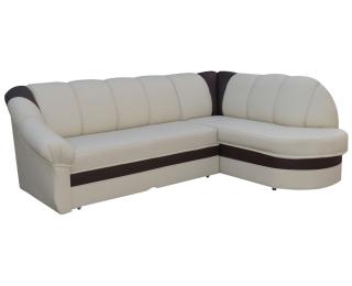 Rohová sedačka s rozkladom a úložným priestorom Belluno P - béžová / tmavohnedá