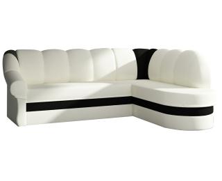 Rohová sedačka s rozkladom a úložným priestorom Belluno P - biela / čierna
