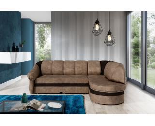 Rohová sedačka s rozkladom a úložným priestorom Belluno P - hnedá / tmavohnedá