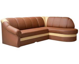 Rohová sedačka s rozkladom a úložným priestorom Belluno P - hnedá / krémová
