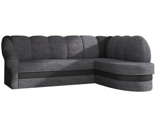 Rohová sedačka s rozkladom a úložným priestorom Belluno P - sivá (Berlin 01) / čierna (Soft 11)