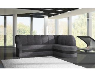 Rohová sedačka s rozkladom a úložným priestorom Belluno P - sivá (Sawana 05) / čierna (Soft 11)