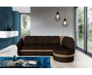 Rohová sedačka s rozkladom a úložným priestorom Belluno P - tmavohnedá / hnedá