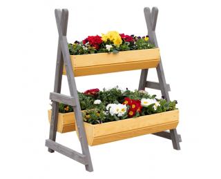 Drevený stojan na kvety Beron - prírodná / sivá