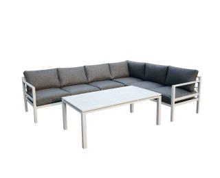 Hliníkový záhradný nábytok Alluminio grande - biela / sivá