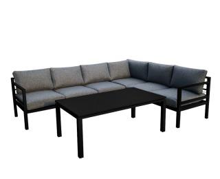 Hliníkový záhradný nábytok Alluminio grande - čierna / sivá