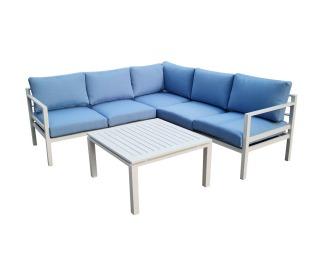 Hliníkový záhradný nábytok Alluminio - biela / modrá