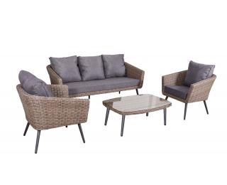 Záhradný nábytok z umelého ratanu Antico - svetlohnedá / sivá