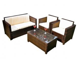 Záhradný nábytok z umelého ratanu Calmo - hnedá / ecru